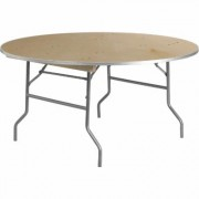 Flash Furniture Round Birchwood Folding Table with Aluminum Edge - 5ft. Diameter, Model XA60BIRCHM