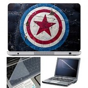 Finearts Laptop Skin Captain America Logo With Screen Guard And Key Protector - Size 15.6 Inch