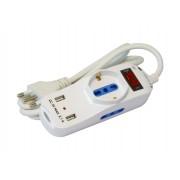 Multipresa 2 Posti Italiana Bipasso / 1 Schuko con 2 prese USB