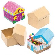Baker Ross House Shaped Craft Boxes - 4 Sturdy Card House Boxes. Small Boxes For Crafts. Size 9cm x 8cm x 7cm.