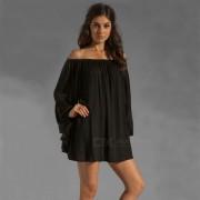 Sexy manga larga de gasa suelta vestido de una pieza - Negro (L)
