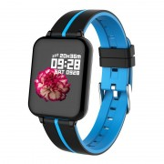 B57 1.3-inch IPS Color Screen Waterproof Health Monitoring Fitness Tracker Smart Watch with Dual Color Strap - Black/Blue