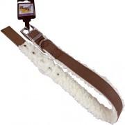 Hundhalsband, pälsfodrat, mörkbrun/vit, 25mm x 65cm