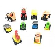 Akrobo Abs Plastic Construction Vehicle Dumper, Jcb, Cement Mixer, Transport, Garbage Truck, Container and Crain Automobile Toy - Set of 10