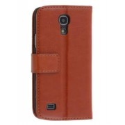 Synthetic Leather Wallet Case with Stand for Samsung Galaxy S4 mini - Samsung Leather Wallet Case (Brown)