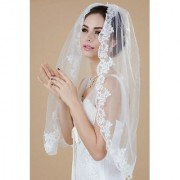 Venus Bridal Wedding Veil for Bride with Lace Edge and Comb Attached (Plastic comb Ivory)