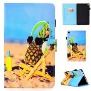 Amazon Kindle Voor Amazon Kindle Fire HD 8 gekleurde tekening stiksels horizontale Flip leergeval met houder & kaartsleuven (ananas)