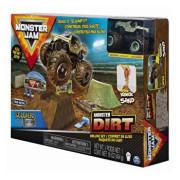 Monster Jam, set camioneta cu nisip si accesorii cu rampa