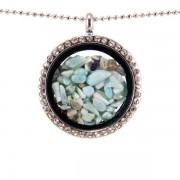 Üveg szelence larimár drágakövekkel