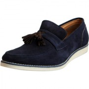 Fausto Men's Blue Suede Leather Mocassins and Loafers