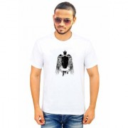 DOUBLE F ROUND NECK HALF SLEEVE WHITE COLOR UNIQUE BIRD PATTERN PRINTED T-SHIRTS