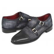 Paul Parkman Cap Toe Double Monk Strap Shoes Navy Suede FK77W