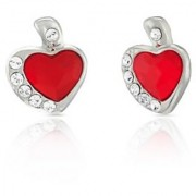 Mahi Rhodium Plated Red And White Heart Earrings Made With Swarovski Elements For Women Er1194116Rred