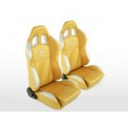 FK-Automotive siège baquet modèle New York (1xgauche+1xdroite) Doré/argent, couture argent