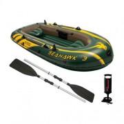 Set barca gonflabila / pneumatica Intex 68380NP Seahawk 3, pentru 3 persoane, 295 x 137 x 43 cm + vasle + pompa