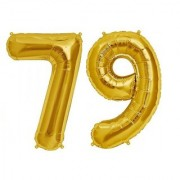 Stylewell Solid Golden Color 2 Digit Number (79) 3d Foil Balloon for Birthday Celebration Anniversary Parties