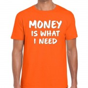 Bellatio Decorations Money is what i Need fun t-shirt oranje heren