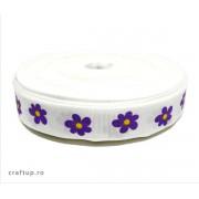 Bandă decorativă -Tafina 15mm- Flori mov (rolă 25m)