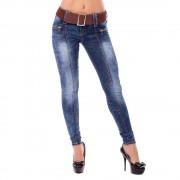 V&V Dámské slim jeans s páskem - tmavě modré (26) - V&V