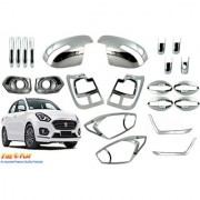 Car Chrome Accessories combo for Swift Dzire2017 by FirePlay. Full Exterior car accessories (longlasting chrome 22Pcs)