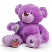 Purple 3.5 Feet Big Teddy Bear with a heart