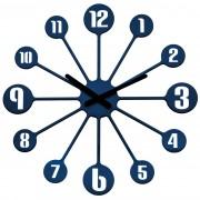 Ceas de perete Koziol Pinball, albastru, diam. 45 cm