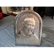 Cornice Padre Pio argento