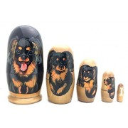 "Dog Cavalier King Charles Spaniel Nesting Dolls Russian Hand Made 5 Piece Matryoshka Set 4""H"