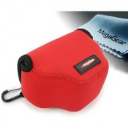 MegaGear Ultra Light Neoprene Camera Case Bag with Carabiner for Canon PowerShot SX510 SX420 IS SX410 IS SX400 (Red)
