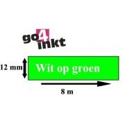 Lettertape TZE-735 12mm Wit-Groen Huismerk