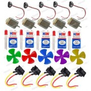 5 Pieces - Science Project Kit with Mini 4 Wing Fan 9V Battery Snap Switch LEDs for DIY Toy