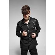 Punk Rave Nostromo Leather & Denim Gothic Long Sleeved Shirt Black Y-564