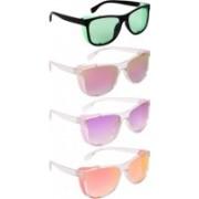 NuVew Wayfarer, Shield Sunglasses(Green, Pink, Grey, Violet, Red, Golden)
