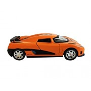 Die-Cast Orange Metal Car 6 Top Performance Sonic Speed, Light and Sound Pull-Back Action Push Open Doors by Die CAST CAR