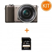 Kit Sony A5100 cu Obiectiv 16-50 F/3.5-5.6 OSS Maro + Sony SDXC 64GB