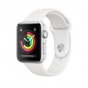 Smartwatch Apple Watch Series 3 GPS, 38mm, Carcasa din aluminiu argintie si bratara Sport alba