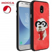 Mocca Cover Galaxy J3 2017 Velluto Rosso + Cane Con Occhiali - Mocca