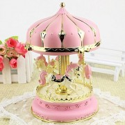 ESH7 Lovely Music Box Light Carousel Music Boxes for Children Creative Craft Gifts Girl Birthday Gift Holiday Present Home Decoration,Color Pink