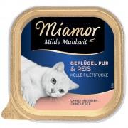 6х100г Mild Meals Miamor, консервирана храна за котки - чисто птиче месо и пъстърва