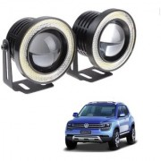 Auto Addict 3.5 High Power Led Projector Fog Light Cob with White Angel Eye Ring 15W Set of 2 For Volkswagen Taigun