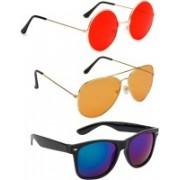 Elligator Round, Aviator, Wayfarer Sunglasses(Red, Orange, Red)