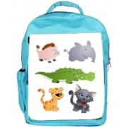 Snoogg Eco Friendly Canvas Cute Animals Vectors Backpack Rucksack School Travel Unisex Casual Canvas Bag Bookbag Satchel 5 L Backpack(Blue)