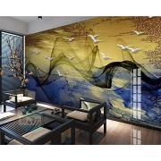 LHFLHI Papel Pintado Mural Chino Concepción Artística Línea Abstracta Pájaro Mural Dorado Dormitorio De Pared Papel Tapiz 3D-350 * 245Cm