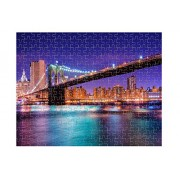 Brooklyn Bridge At Night In New York Jigsaw Puzzle Print 252 Pieces