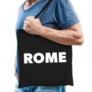 Bellatio Decorations Katoenen Italie/wereldstad tasje Rome zwart