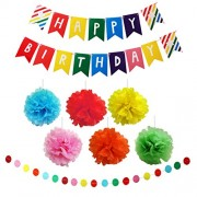 Belle Vous 9 Piece Multicolour Large Tissue Paper Pom Decorations Set & Happy Birthday Banners by Red, Orange, Blue, Green, Yellow Pink Flower Pompom Balls Rainbow Decoration