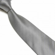 """Black/Silver Thin Striped Microfibre Tie"""