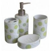 Set baie portelan 4 piese dozator sapun sapuniera suport periute dinti pahar cu buline verzi
