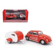 Motor City Classics New 1:43 Classic Collection - Red 1967 Volkswagen Beetle with Teardrop Trailer Diecast Model Car by