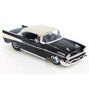 ModelToyCars 1957 Chevy Bel Air Custom, Black w/Wide Rear Tires - Jada 98945D 1/24 Scale Diecast Model Toy Car